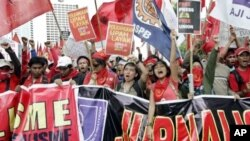 Indonesian workers shout slogans during the commemoration of International Labor Day on the main street of the business district in Jakarta, Indonesia. (File)