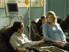 "Walter White, played by Bryan Cranston, and his wife Skyler White, played by Anna Gunn, during Walt's chemotherapy treatment during the first season of ""Breaking Bad."""