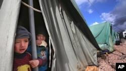 一名在黎巴嫩的叙利亚难民男孩从难民营帐篷里向外张望