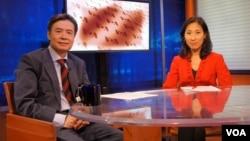现任中华民国驻美代表金溥聪接受美国之音记者樊冬宁采访 (美国之音拍摄)