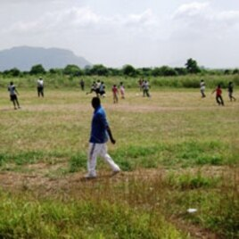 A soccer match at the Mmofra Trom center