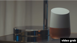 A Google Home device is seen in this screenshot from the company's Super Bowl commercial.