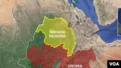 Kaartaa Itoophiyaa naannoo Oromiyaa fi Amhaaraa agarsiisu