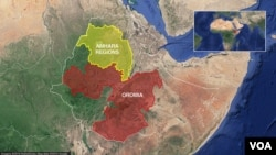 A map shows the Oromia and Amhara regions of Ethiopia.