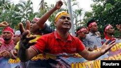 居住在马来西亚的罗辛亚人抗议缅甸对罗兴亚人的待遇(2017年9月8日)