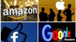 미국 언론들이 연방 법무부와 연방 무역위원회(FTC)의 반독점 행위 조사 대상으로 언급한 아마존(시계 방향), 애플, 구글, 페이스북.