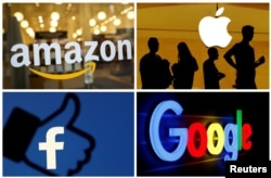 Foto kombinasi logo Amazon, Google, Apple, dan Facebook, 3 Juni 2019. (Foto: Reuters)