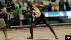 L'athlète Usain Bolt après avoir fini les 100 mètres au championnat du monde d'athlétisme à Londres, le 5 août 2017.