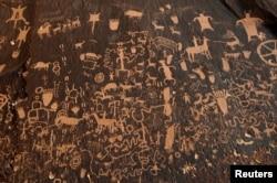 Hundreds of petroglyphs cover Newspaper Rock, in Bears Ears National Monument, Utah, Oct. 29, 2017.