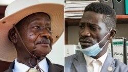 "Président Yoweri Museveni (G) na alanga nzembo ""Bobi Wine"" Robert Kyabulanyi ma bilili mibale, bakowelela bokonzi na maponami ma le 14 janveir 2021 na Ouganda."