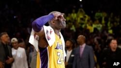 KobeBryant, âgé de 41 ans, ancien joueur de Los Angeles Lakers, 13 avril 2016.
