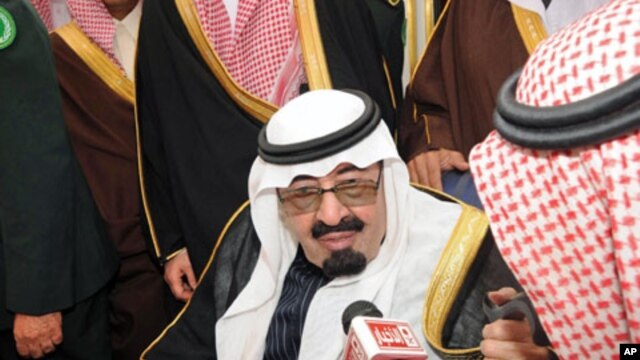 Saudi Arabia's King Abdullah speaks to Saudi media upon his arrival at Riyadh airport. King Abdullah unveiled a series of benefits for Saudis estimated to be worth $35 billion on his return home after three months abroad for medical treatment, February 23