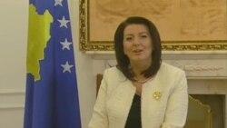 President of Kosovo, Atifete Jahjaga, congratulates VOA's Albanian Service