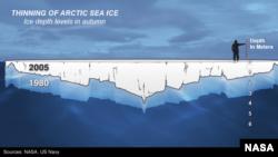 Penipisan es Laut Arktik, 1980-2005.