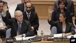 Ðại sứ Anh Mark Lyall Grant và Ðại sứ Mỹ tại LHQ Susan Rice