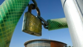 A padlock hangs outside the Tae Kwon Do and Handball stadium at the Faliro Coastal Zone, near Athens, August 8, 2005.