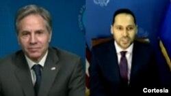 Antony Blinken, secretário de Estado dos EUA, e Pedro Lopes, antigo participante cabo-verdiano no programa Yali
