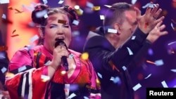 Israel's Netta performs after winning the Grand Final of Eurovision Song Contest 2018 at the Altice Arena hall in Lisbon, Portugal, May 12, 2018.