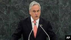 El presidente de Chile, Sebastián Piñera agradeció durante su discurso a los países que apoyan su ingreso al Consejo de Seguridad de la ONU.