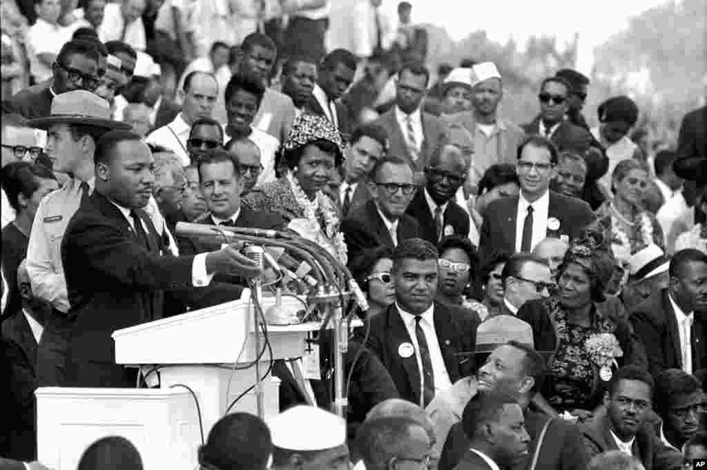 "Martin Luther King Jr., head of the Southern Christian Leadership Conference, speaks to thousands during his ""I Have a Dream"" speech in front of the Lincoln Memorial, in Washington, August 28, 1963."