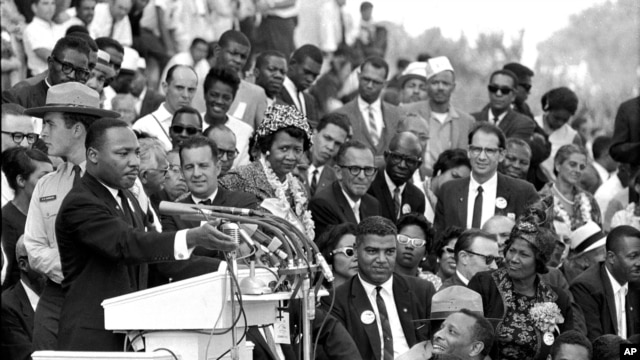 Martin Luther King Jr. speaking near the Lincoln Memorial, in Washington, August 28, 1963.