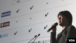 El fundador del la red social Gree, Yoshikaza Tanaka, fue el principal invitado en la Convención de Juegos en Chiba, Tokio.