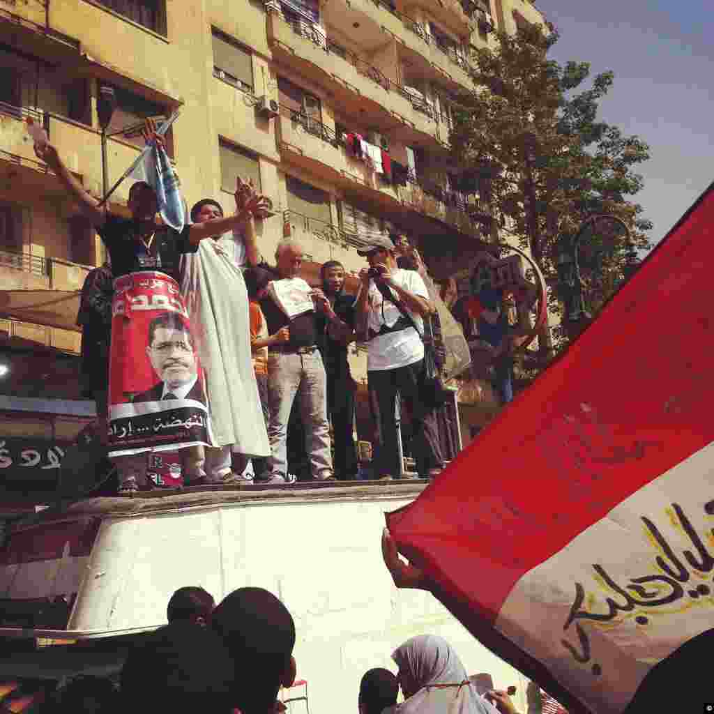 A demonstration in Tahrir gathers on June 18th, 2012 to share election frustrations over unofficial results in Cairo.