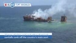 VOA60 World - Cargo Ship Sinks off Sri Lanka, Triggers Environmental Disaster