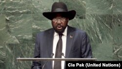 President Salva Kiir addresses the 69th session of the United Nations General Assembly in New York on Saturday, Sept. 27, 2014.