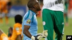 Nigeria's goalkeeper Vincent Enyeama reacts at the end of their African Cup of Nations quarterfinals match with Ivory Coast Sunday, Feb. 3 2013 at the Royal Bafokeng stadium in Rustenburg, South Africa. Nigeria defeated Ivory Coast 2-1 to advance to the semifinals. (AP Photo/Armando Franca)