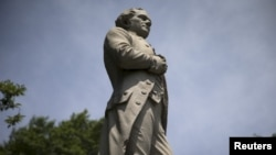 FILE - A statue of Alexander Hamilton stands in New York's Central Park, July 28, 2015.
