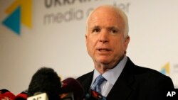 U.S. Senator John McCain speaks during a press conference in Kyiv, Ukraine, Sept. 4, 2014.