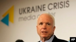 Senator John McCain speaks during a press conference in Kyiv, Ukraine, Sept. 4, 2014.