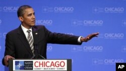 Presiden Barack Obama dalam jumpa pers KTT NATO di Chicago (21/5)
