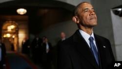 2017年1月20日奥巴马在华盛顿美国国会大厦(資料照片)