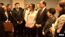 President of albania bujar nishani, johanna Newmann
