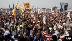 Les partisans de Moise Katumbi lors un rassemblement de tous les partis d'opposition de la coalition à Kinshasa, le 9 juin 2018.