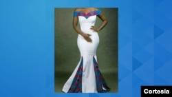 Vestido feito para um noivado pela costureira Leonilzia Emília Manhiça