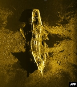 An undated handout sonar image released by Joint Agency Coordination Centre (JACC) on Jan. 13, 2016 shows an iron or steel-hulled shipwreck some 3,700 metres below the surface and believed to have gone down at the turn of the 19th century.