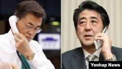 문재인 한국 대통령(왼쪽)이15일 오후 청와대 여민관에서 아베 신조 일본 총리와 전화 통화를 하고 있다. 신조 총리 사진은 자료사진.