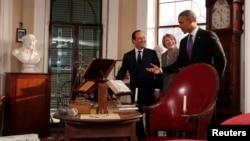 El presidente Barack Obama, junto a su par francés Francois Hollande, visitaron la residencia del expresidente estadounidense Thomas Jefferson, en Charlottesville.