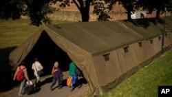 奧地利設立了臨時收容中心安置難民