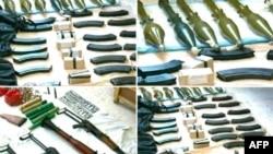 Сирийское государственное информагентство SANA демонстрирует фотографии оружия, которое по утверждению агентства, использовали террористы
