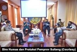 Gubernur Sulawesi Tengah, Longki Djanggolamemimpin Rapat Forkopimda Prov. Sulawesi Tengah Plus , tentang Kondisi Keamanan dan Menghadapi Pelaksanaan Idul Fitri 1441 H dan Kondisi Musibah Virus Covid -19 (22/5). (Foto: Courtesy/Biro Humas dan Protokol Pemp