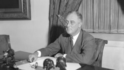 President Franklin Roosevelt at his desk in the White House