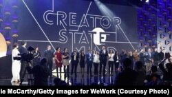 Finalists appear on stage as WeWork presents Creator Awards Global Finals at the Theater at Madison Square Garden, Jan. 17, 2018, in New York City.