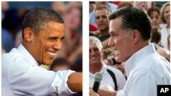 El presidente Barack Obama y su oponente Mitt Romney en campaña.