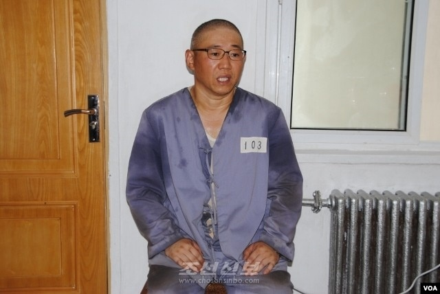 FILE - Kenneth Bae being interviewed by Japanese pro-North Korea newspaper Choson Sinbo at North Korean labor camp, June 26, 2013.