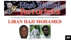 Selebaran FBI menunjukkan foto Liban Haji Mohamed, yang termasuk dalam daftar buronan.