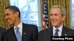 Barack Obama et George W. Bush , Maison-Blanche, 7 janvier 2009